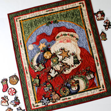 Advent Calendar, Quilted Santa Wall Hanging, Children's Christmas Activity, Christmas Tree, Sally Manke, Heirloom Fiber Art