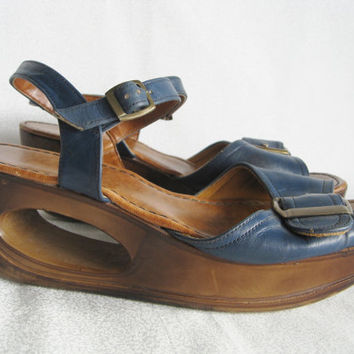 "Boho chic shoes/vintage Yo Yo's/blue leather sandals with cut out wedge/brass buckels/size 7 1/2""-8"
