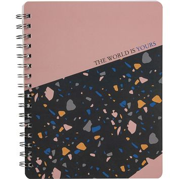 The World Is Yours Spiral Notebook in Colorful Terrazzo Design