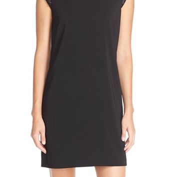 Women's Laundry by Shelli Segal Embellished Sleeve Crepe Shift Dress,