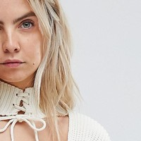 Glamorous Petite Relaxed Sweater Dress With Cut Out Collar And Tie Cuffs at asos.com
