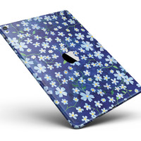 """Flowers with Stems over Blue Watercolor Full Body Skin for the iPad Pro (12.9"""" or 9.7"""" available)"""
