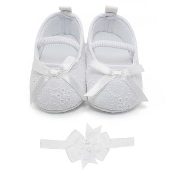 Delebao Baby Girl Infant Satin Mary Jane Baptism Shoes Dance Ballerina Slippers Shoes & Headband 0-6 Months '