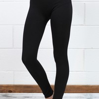 Body Shaping Fleece Lined Leggings {Black}