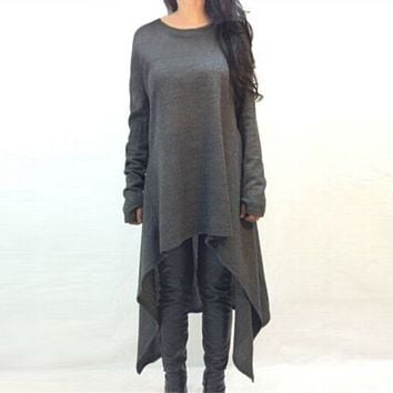 2016 New Spring Autumn O Neck Full Sleeve Long Knitted Dress Irregualr Hem Loose Casual Maxi Sweater Solid Vestidos Plus Size