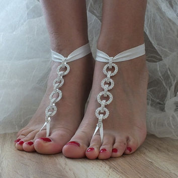 Rhinestone SANDALS //  anklet,  Beach wedding barefoot sandals,  Barefoot Sandals, Sexy, Yoga, Anklet , Bellydance, Steampunk, Beach Pool