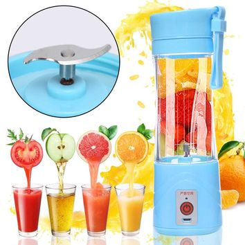 380ml USB Rechargeable Juicer Bottle Cup Portable Fruit Juicer Machine Blender Shake Handheld Milkshake Smoothie Squeezer Bottle