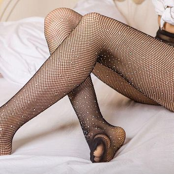 1PC Sexy Stockings Women Girls Slim Fishnet Body Party Club Bandage Pantyhose Hosiery Bling Crystal Tights Summer