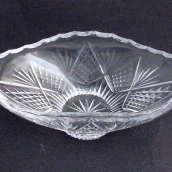 Old  hand Cut Glass oval bowl Crystal, Stone wheel cut