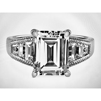 SALE   A Perfect 4CT Emerald Cut Russian Lab Diamond Tapered Baguette Ring