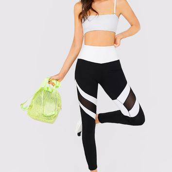 Colorblock Black & White Mesh Panel Stretch Leggings