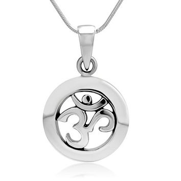 925 Sterling Silver Yoga, Aum, Om, Ohm, Sanskrit India Symbol Pendant Necklace, 18 inches