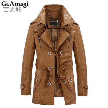 Plus velvet PU leather British Slim double breasted mens long trench coat Europe trenchcoat jacket male coat trench