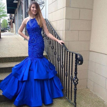 New Arrival Sexy Royal Blue Mermaid Prom Dresses 2017Appliques Sequined Bling Fitted Girl Graduation Dresses Satin Vestido Longo