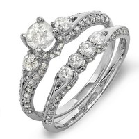 1.50 Carat (ctw) 14k White Gold Round Diamond Ladies Bridal Ring Engagement Set with Matching Band