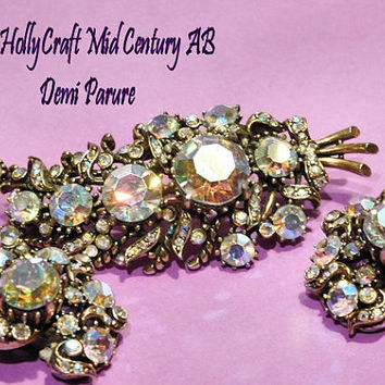 Vintage HOLLYCRAFT Rhinestone Brooch Earrings Demi Parure Mid Century Hollywood Wedding Bride 1950s AB Aurora Borealis Glass Rhinestones