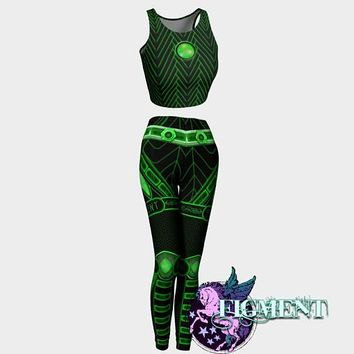 Cyberpunk Outfit in Green - Crop Top & Leggings - cyberpunk costume, rave outfit, Tron costume, Halloween costume, cybergoth, robot, cyborg
