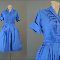 early 60s Blue Pleated Shirtwaist Dress with Full Skirt, fits 36 bust, Vintage 1960s Blue Day Dress