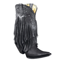 Premier Ladies Cowboy Western Leather Fringe Boots & Studs Black