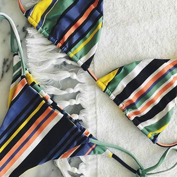Striped Color Block String Bikini Set