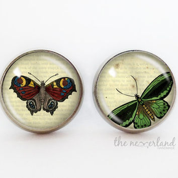 Butterflies stud earrings, steampunk goth vintage jewelry by The Neverland