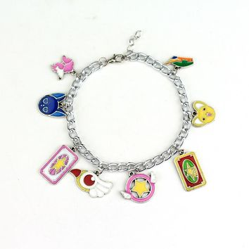 Free Shipping 10 pc/lot Anime Sailor Moon Shielded Star Bracelets & Bangles Cardcaptor sakura magic Charms Cosplay Jewelry