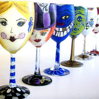 Alice in Wonderland Party Painted Wine Glasses
