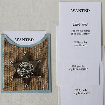Fun Customized GROOMSMEN Best Man or Usher rustic country wedding party card, handmade sherriff badge burlap urban paper goods bridal invite