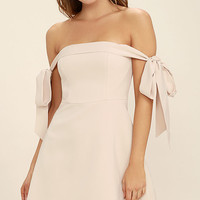Keepsake Another World Beige Off-the-Shoulder Dress