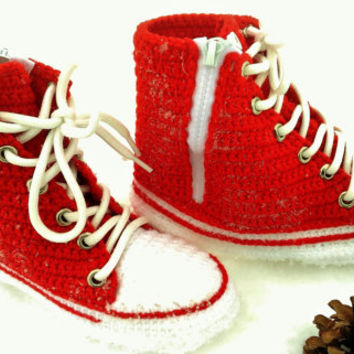 Converse All Star Red Canvas, Red Converse High Top Sneaker, Crochet Converse Slippers, Red Knitted Converse, Custom Converse, House Shoes