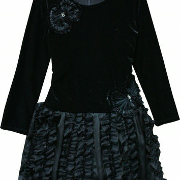 Isobella & Chloe Jazzlyn Black Velvet Ruffle Tulle Dress