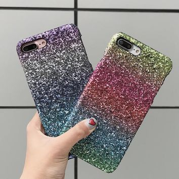 Luxury Sexy Diamond Secret Colorful Gradient Glitter Bling Powder Case For iPhone 6 6S Sparkle Cover Case For iPhone 7 6 6s Plus