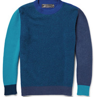 The Elder Statesman - Contrast-Trimmed Wool and Cashmere-Blend Sweater | MR PORTER