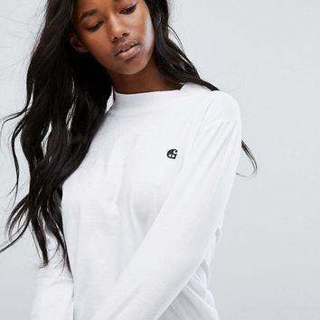 Carhartt WIP Long Sleeve T-Shirt With High Neck And Embroidered Logo at asos.com