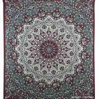 Maroon White Indian Mandala Star Dorm Decor Hippie Tapestry Wall Hanging Bedspread