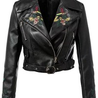 Embroidery Flower Askew Zipper Hasp Short Jacket