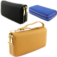 Double Gold Metal Zipper Long Wallet Clutch Wristlet Card Coin Holder PU Leather