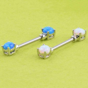 ac PEAPO2Q 1 Piece New Fashion Opal Stone Barbell Piercing Ring Shield Jewelry Bar Body Piercing Jewelry