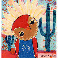 """Southwestern Owl Print of Mixed Media Painting """"Hidden Stories"""""""