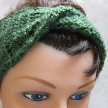 Turban Headband Green Crochet Headband