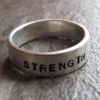Personalized Ring: 6MM Hand Stamped Personalized Sterling Silver Ring Sizes 5-10