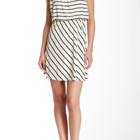 Striped Knit Blouson Dress