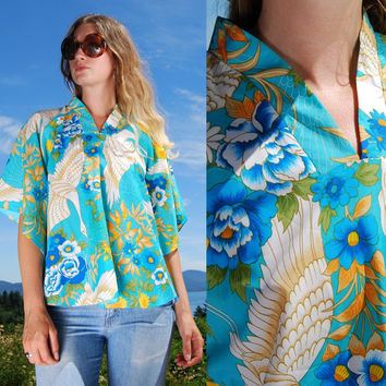 70' Floral Kimono Top, HAWAIIAN PALM, Aqua Blue Orange + White Japanese Flying crane, Hawaiian Blouse, Boho Hippie Caftan Top, Festival Top