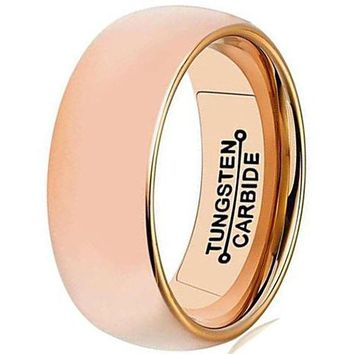 CERTIFIED 8mm Rose Gold Tungsten Carbide Ring Simple Domed Design Wedding Jewelry Thin Engagement Promise Band High Polished