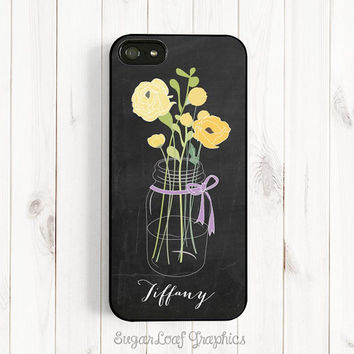 Yellow Bouquet Personalized First Name, Chalkboard iPhone Case, iPhone 5/5s/5c Case, iPhone 4/4s Case, Samsung Galaxy S3/S4 Case ch09