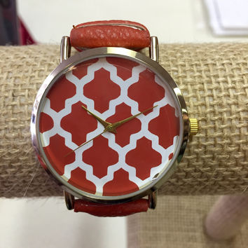Orange Watch with Damask Face