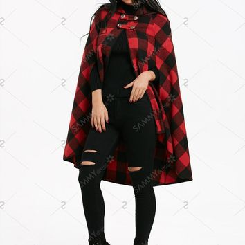 Plaid Hooded Cape Coat with Batwing Sleeve - Black And Red - XL