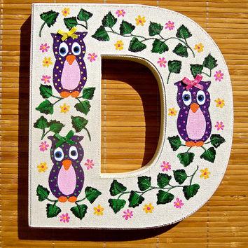 Nursery Decor Painted Letter D With Purple Owls, Girls Room Wall Art, Baby Shower Gift