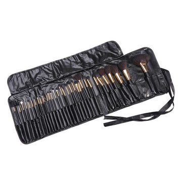 Cosmetic 32 Pcs Wool Makeup Brushes Set with Black Leather Brush Bag