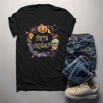 Men's Boho Halloween T Shirt Pumpkin Skull Wreath Watercolor Graphic Tee Happy Halloween Wreaths